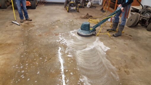 deep clean concrete floor